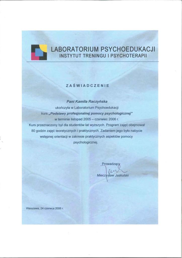 Zaswiadczenie podstawy pomocy psychologicznej
