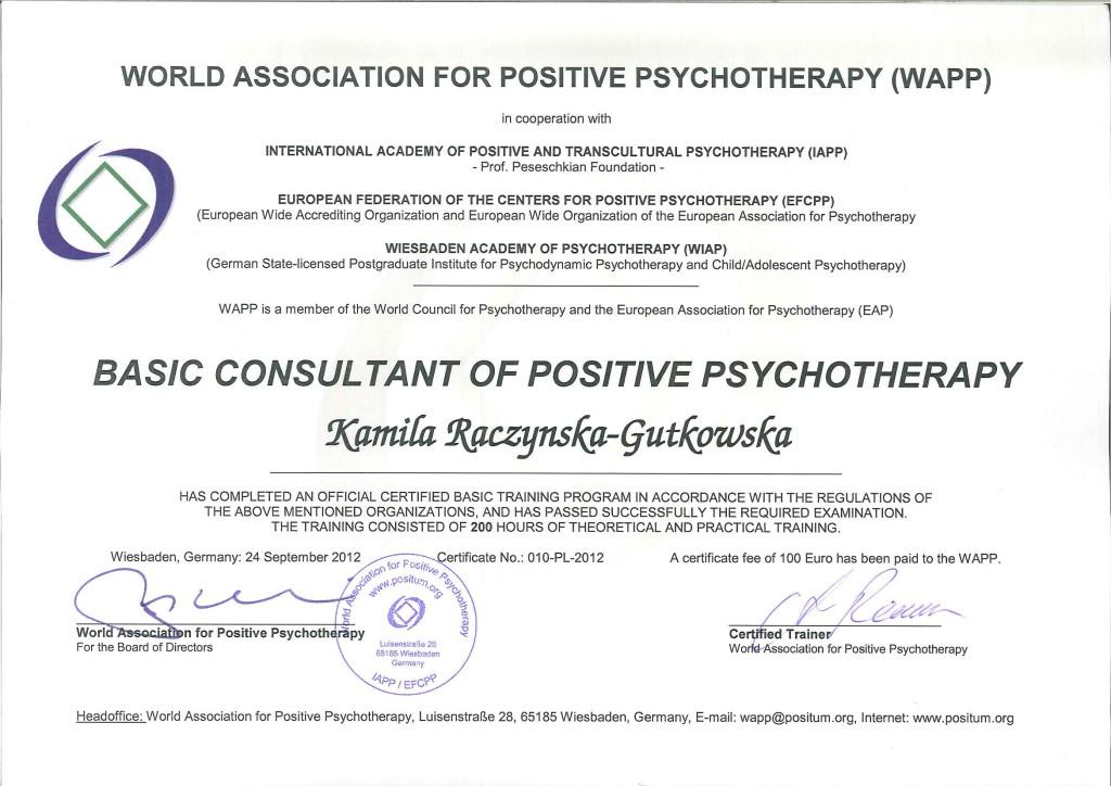 Zaswiadczenie psychoterapia pozytywna